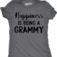 Isn't being a Grammy just the best thing ever? If you are proud to find your happiness in being a wonderful Grammy then we've got you covered with this fun design. This shirt is now offered in Women's slim fit t-shirt (also known as junior fit) AND Unisex fit. Sizes tend to run small so order larger if you're between sizes. See size chart. Unisex fit follows Men's measurements. color: Gray, Pink, Navy Blue, Red, Royal Blue material: 100% Cotto...