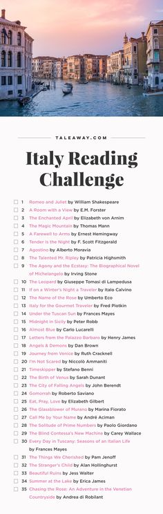 Italy Reading Challenge, Books Set In Italy...❄ #travelinitaly Reading Challenge 2017, Book Challenge, I Love Books, Read Books, Book Club Books, My Books, Book Corners, Book Lists, Reading Lists