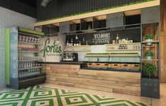 Clean food cafe fortes on behance smoothie bar, small restaurants, shop cou Bakery Interior, Restaurant Interior Design, Café Design, Deco Restaurant, Smoothie Bar, Small Restaurants, Café Bar, Cafe Bistro, Coffee Shop Design