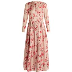 Brock Collection Disco long-sleeved floral-print silk-twill dress ($2,490) ❤ liked on Polyvore featuring dresses, pink multi, flower print dress, rose pink dress, pink cocktail dress, pink floral dress and long-sleeve floral dresses
