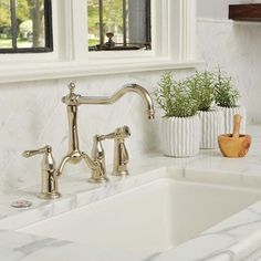 Collection: Tresa • Finish: Brilliance Polished Nickel • Product: Two-Handle Bridge Kitchen Faucet with Side Sprayer