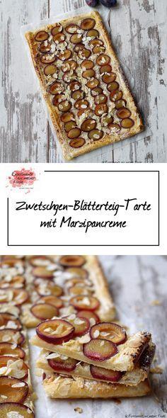 Zwetschgen-Blätterteig-Tarte mit Marzipancreme | Rezept | Backen