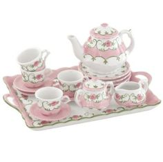 This darling 18-piece child's porcelain floral pink tea party set will provide lots of fun for your little girl at her own special tea party with her friends.