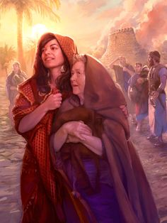 Rahab and her family stand amidst the ruins of Jericho