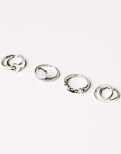 Pull&Bear - woman - jewellery - pack of 7 assorted rings - silver - 05995369-V2016