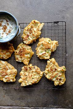 Cauliflower Fritters with Cucumber, Yogurt & Roasted Cumin Dip