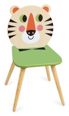 Vilac Chaise Tigre par Ingela P. Chair Design Wooden, Toddler Chair, Designer Kids Clothes, Nursery Furniture, Tiger, Pastel Colors, Bunt, Playroom, Kids Toys
