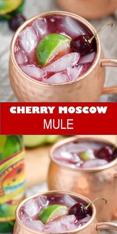 Tasty healthy food and drink that you definitely like Cherry Moscow Mule This Cherry Moscow Mule is a fruity, summer twist on a classic cocktail made with fresh cherries, vodka, ginger beer, liqueur and lime. Triple Sec, Cherry Cherry, Cherry Margarita, Cherry Drink, Cherry Liqueur, Refreshing Drinks, Summer Drinks, Gastronomia, Dessert