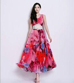 Silk Aline Dress Bohemian Pink Red Floral Print Full by ChineseHut, $169.00