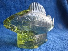 Sweden Kosta Paul Hoff glass abborre perch figurine skulpture WWF animals fish #Kosta #PaulHoff