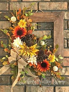 Fall Wreath For Front Door, Rustic Fall Door Hanger, Indoor Outdoor Fall Wall Hanging Herbst Kranz, Wreaths For Front Door, Door Wreaths, Front Doors, Arte Pallet, Fall Door Hangers, Wall Hanger, Indoor Outdoor, Picture Frame Wreath, Square Wreath