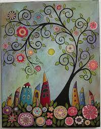Swirl Tree Bird & Houses - Buscar con Google