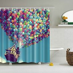 Bartori Colorful Balloon Movie Up Disney Shower Curtain Plastic Curtains, Hanging Curtains, Fabric Shower Curtains, Bathroom Shower Curtains, Curtain Fabric, Bathroom Showers, Bathroom Ideas, Disney Shower Curtain, Colorful Shower Curtain