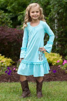 Pre Order ST Aqua Knit Ruffle Peasant Dress