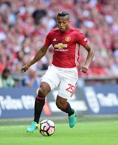 Antonio Valencia of Manchester United in action during The FA Community Shield match between Leicester City and Manchester United at Wembley Stadium...