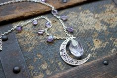 Amethyst and the Bright Silver Crescent Moon Necklace by earthcharms on Etsy