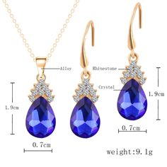 Fashion 18K Gold Plated Crystal Water Drop Pendants Necklaces Earrings Bridal Wedding Party Jewelry Sets For Women joyas bijoux