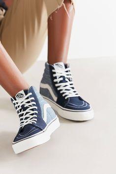4bbe6b9e45 Vans Sk8-Hi Patchwork Denim Sneaker