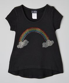 This A Wish Black Rainbow Hi-Low Tee - Toddler & Girls by A Wish is perfect! #zulilyfinds