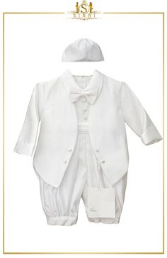 Designed by Romano Vianni, this tuxedo suit is just the perfect choice for any Christening or special occasion. Charming and elegant it consists of a satin look trousers and a matching attached jacket. Shop now at SIRRI kids #childrens suits #boys 3 piece suit #kids wedding suits #boys communion suits