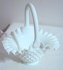 "Fenton - Hobnail - Milk Glass - Basket 7"""