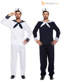 Mens Sailor Complete Outfit + Hat Navy Fancy Dress Officer Marine Seaman Costume | eBay