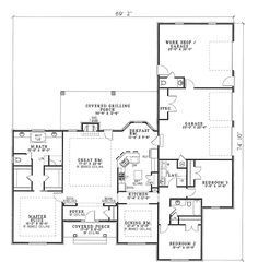 First Floor Plan of House Plan 62233 Shop and open areas