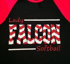 Custom Glitter & Chevron Baseball or Softball Team Baseball-Style Tee - Multiple Color Options