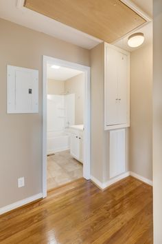 Back hall with linen closet