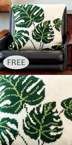 Knitting Pattern for Tropical Leaf Pillow Free Knitting Pattern for Tropical Leaf Pillow - Colorful cushion cover with leaves worked in intarsia and duplicate stitch. Video tutorial included on pattern page. Designed by Yarnspirations. Leaf Knitting Pattern, Intarsia Knitting, Knitting Stitches, Knitting Patterns Free, Free Knitting, Crochet Patterns For Beginners, Knitted Cushions, Knitted Cushion Covers, Cushion Cover Pattern