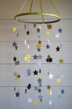 Baby Crib Mobile Star Mobile in Yellow and Gray by BabyJayDecor