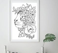 Cat Floral Printable Poster Print Art Print Tattoo Design | Etsy Coloring Books, Coloring Pages, Native American Tattoos, Floral Printables, Poster Prints, Art Prints, Handmade Design, Print Tattoos, Art Drawings