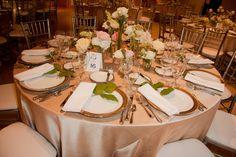 Beautiful table arrangement in the Rotunda/Mabee!