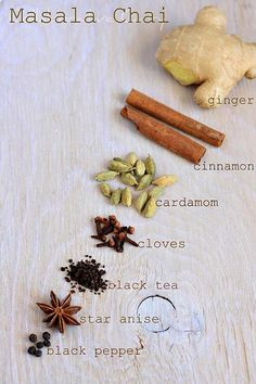 Masala chai, all the above brewed then infused into milk and sweetened to taste. I am all over the Masada chai now. Masala Chai, Garam Masala, Tea Recipes, Indian Food Recipes, Cooking Recipes, Recipies, Comida India, Ginger And Cinnamon, Homemade Spices