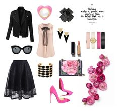 """""""RockGlam"""" by victoria-tarnavskaia on Polyvore featuring LE3NO, Christian Louboutin, Dolce&Gabbana, Chanel, CÉLINE, Black, Yves Saint Laurent, House of Harlow 1960, Tory Burch and Alison Lou"""