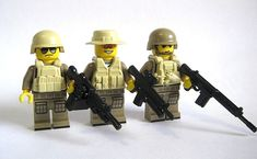 Lego Custom DESERT COMBAT SQUAD 3 Minifigures PLUS 15 pc BrickArms Weapon Pack #Lego