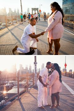 All of her family helped him propose on the Brooklyn Bridge, and it's just the sweetest. <3