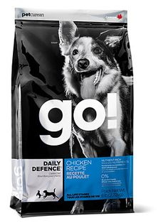 Petcurean GO! DAILY DEFENCE Chicken Dog Food Recipe is packed with proteins, whole grains, and essential Omega oils to help refuel and revitalize your dog. This dog food kibble is nutrient-dense and designed to refresh and revitalize your pet's energy needs.