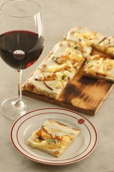 goat cheese and fig pizza pairs perfectly with red wine.