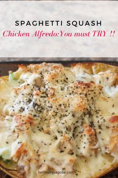 Spaghetti Squash Chicken alfredo, great for low carb and keto diet eating