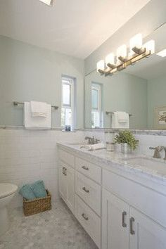 """Benjamin Moore """"Woodlawn Blue"""" - HC-147....love everything...paint, counters, wall tile, floor tile....everything!"""
