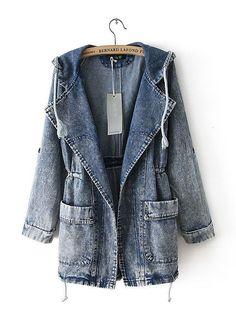 YESSSSSSS!!!!!!! Loose Drawstring Waist Lapel Long Sleeve Jacket