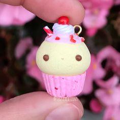 #kawaii #charms #polymer #clay #strawberry #milkshake #cupcake