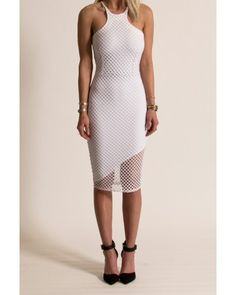 Donna Mizani - Racer Front Mid Length Dress in White