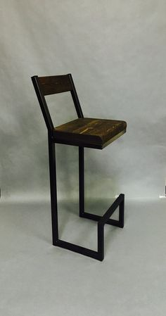 "34"" to 36""x14x12 New style bar stool with back. Frame color can be to your liking, gray or black. Seat top stain can also be stained any color youd like. Please specify the height you need. Thank you."