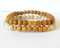 White Lotus Seed and Sandalwood Tribal Bracelet. Yoga Jewelry #yoga #jewelry