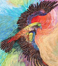 Eagle Soaring by Helen Godden.  The entire surface of the quilt is machine couched yarn on stabiliser.