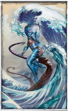 Magic the Gathering. Fantasy Creatures, Mythical Creatures, Mtg Planeswalkers, Mtg Art, Drawn Art, Crashing Waves, Wave Art, Sea Monsters, Fantasy Inspiration