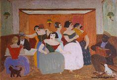 "Pedro Figari (Montevideo, 1861 - Montevideo, 1938)  ""Rincón humano"" ?, Huile sur carton, H. 70 cm ; L. 100 cm © pedrofigari.com"