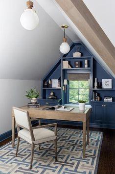 Attic Office Space, Home Office, Attic Spaces, Closet Office, Attic Closet, Attic Living Rooms, Painted Built Ins, Attic Apartment, Apartment Ideas